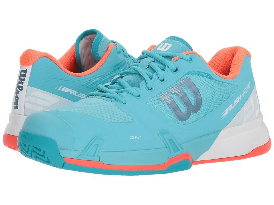Wilson Rush Pro 2.5 (Blue Curacao/White/Fiery Coral) Women's Tennis Shoes