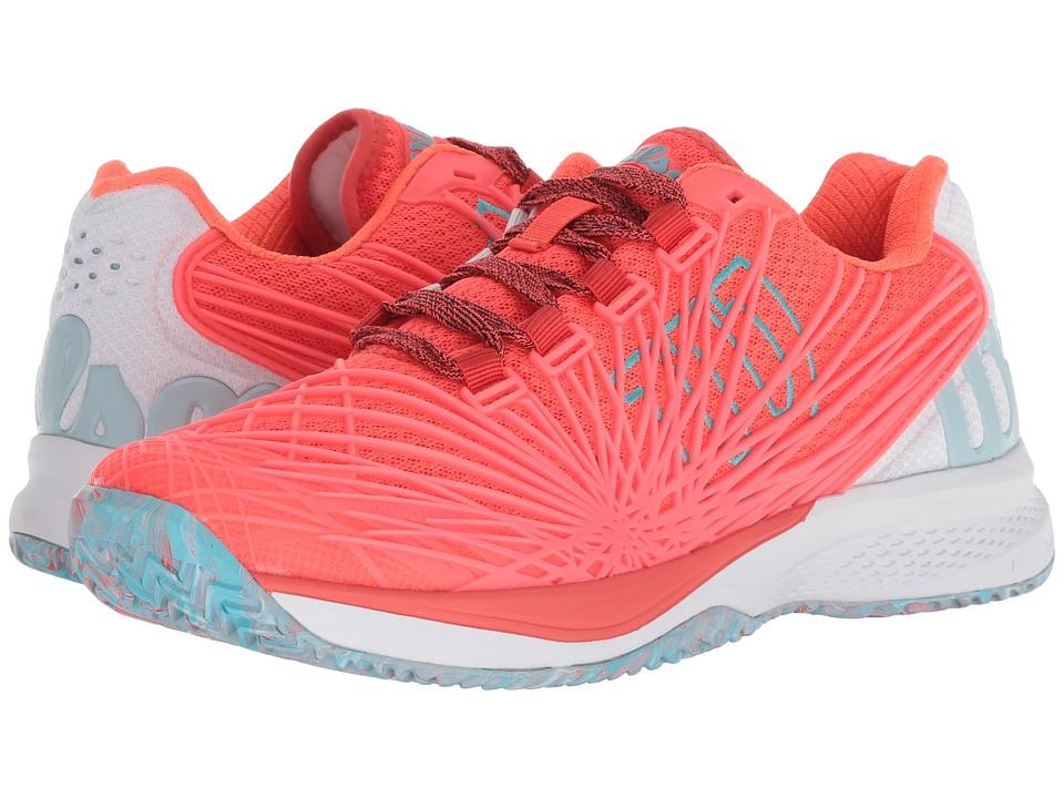 Wilson Kaos 2.0 (Fiery Coral/White/Blue Curacao) Women's Tennis Shoes