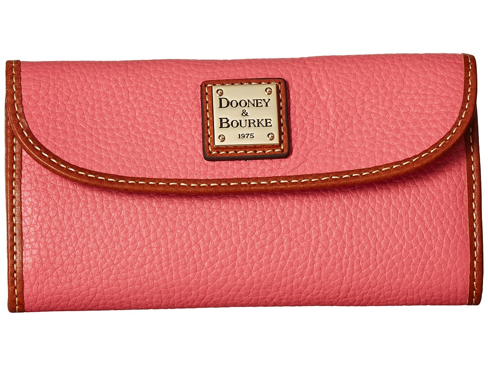 Dooney & Bourke - Pebble Continental Clutch (Bubblegum/Tan Trim) Clutch Handbags