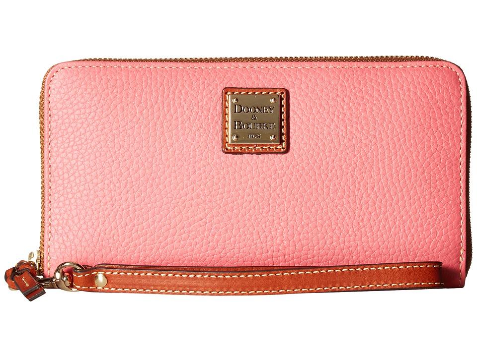 Dooney & Bourke - Pebble Leather Large Zip Around Wristlet (Bubblegum/Tan Trim) Wristlet Handbags