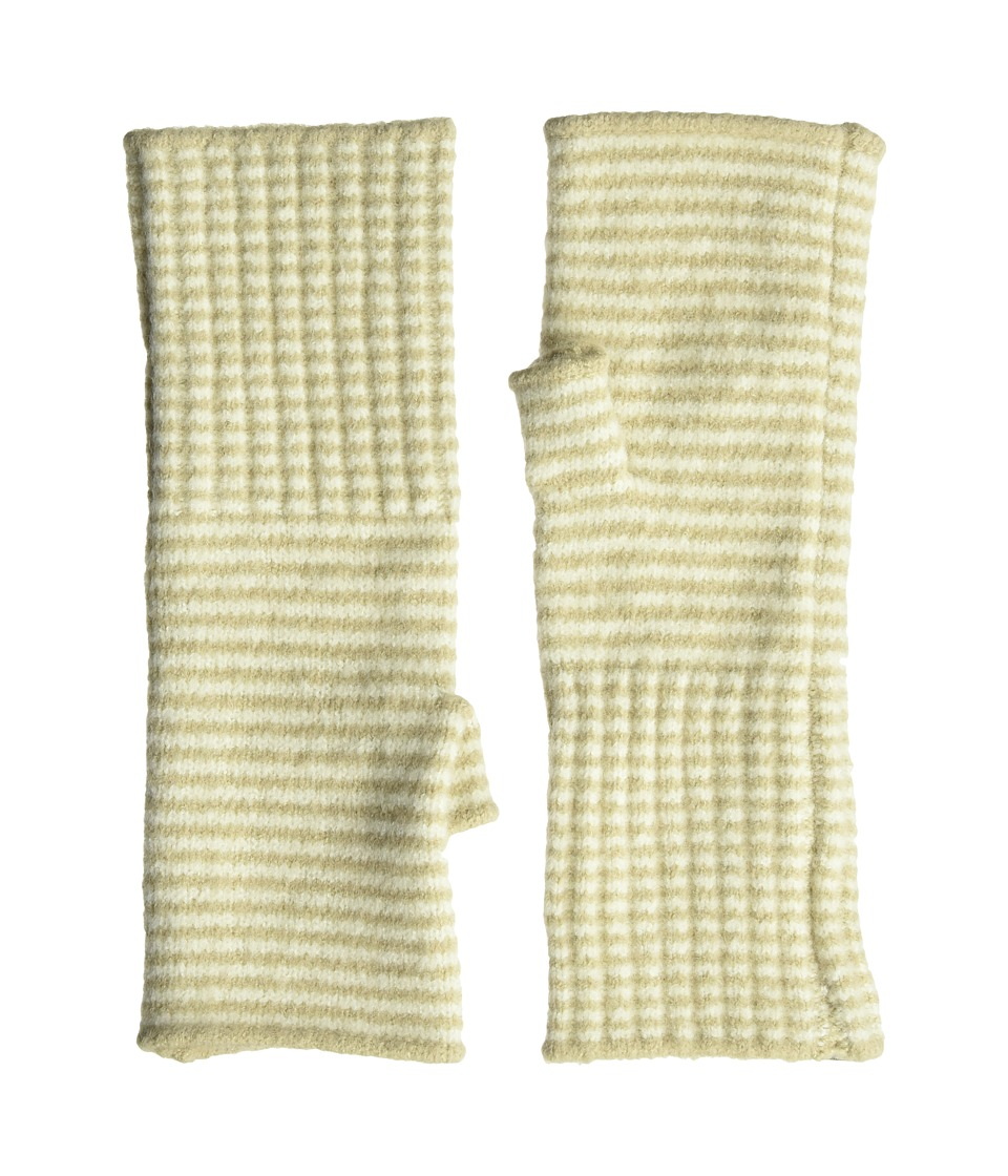 Echo Design Echo Soft Stretch Mini Stripe Fingerless Gloves (Oatmeal) Dress Gloves