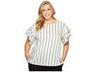 Vince Camuto Specialty Size Plus Size Tiered Ruffle Sleeve Stripe Theory Blouse
