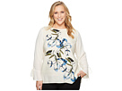 Vince Camuto Specialty Size Plus Size Flared Tie Cuff Ink Portrait Print Blouse