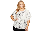 Vince Camuto Specialty Size Plus Size Tiered Ruffle Sleeve Fresco Petals Blouse