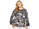 Vince Camuto Specialty Size Plus Size Long Sleeve Flare Cuff Country Floral Blouse