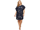 Vince Camuto Specialty Size Plus Size Tiered Ruffle Sleeve Fresco Petals Dress