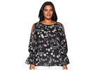 Vince Camuto Specialty Size Plus Size Long Sleeve Flare Cuff Cold Shoulder Botanical Flora Blouse