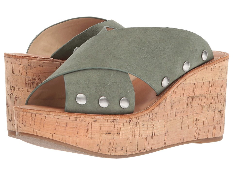 Chinese Laundry - Oahu Sandal (Basil Microsuede/Synthetic) Womens Wedge Shoes