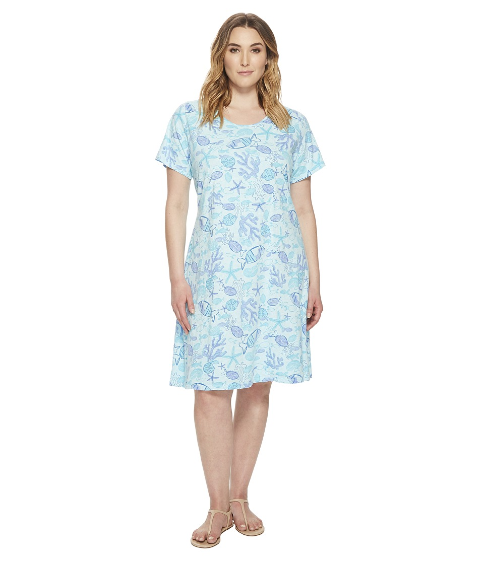 Extra Fresh by Fresh Produce - Plus Size Sea Life Sadie Dress (Swimming Pool Blue) Womens Dress