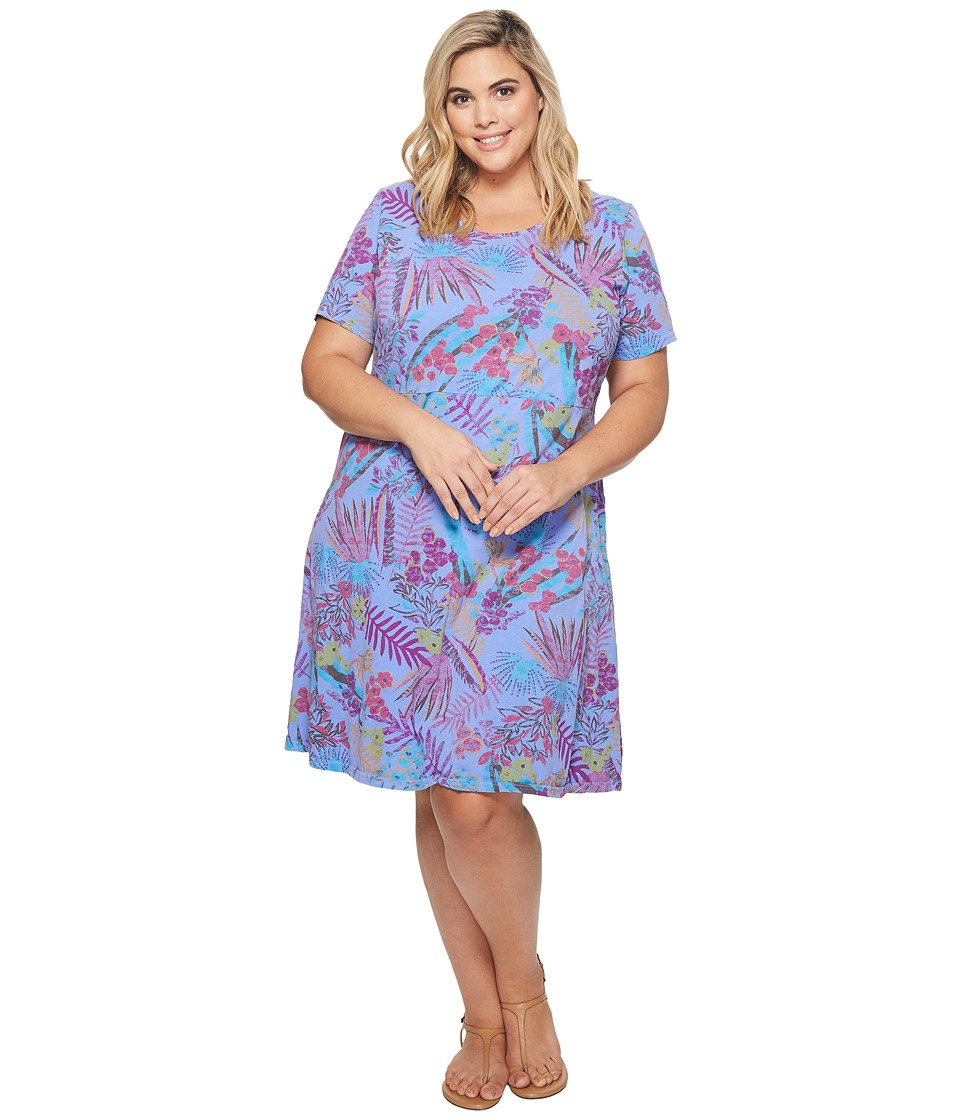 Extra Fresh by Fresh Produce - Plus Size Bright Botanical Sadie Dress (Peri Blue) Womens Dress