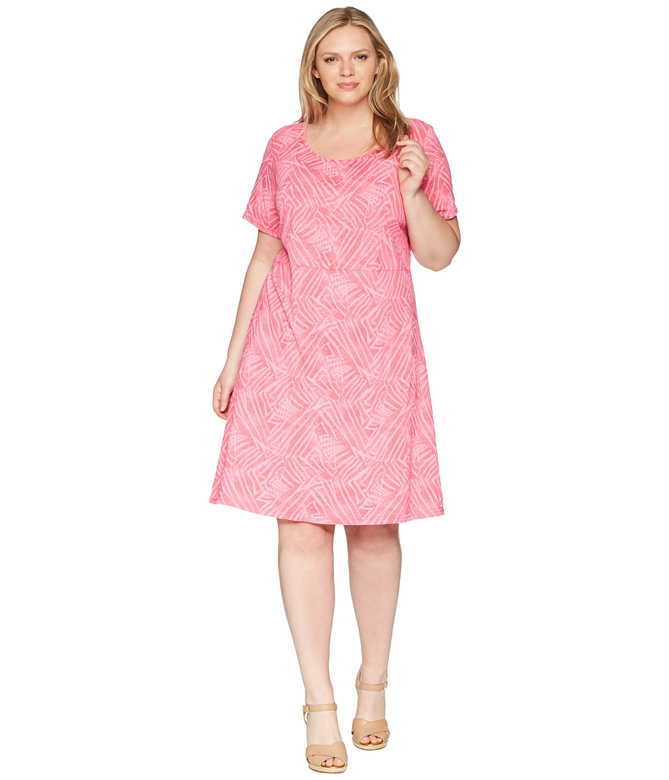 Extra Fresh by Fresh Produce - Plus Size Ocean Tide Sadie Dress (Papaya Pink) Womens Dress