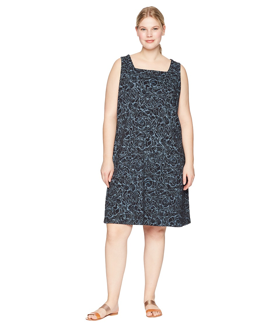 Extra Fresh by Fresh Produce - Plus Size Waves Square Neck Dress (Black) Womens Dress