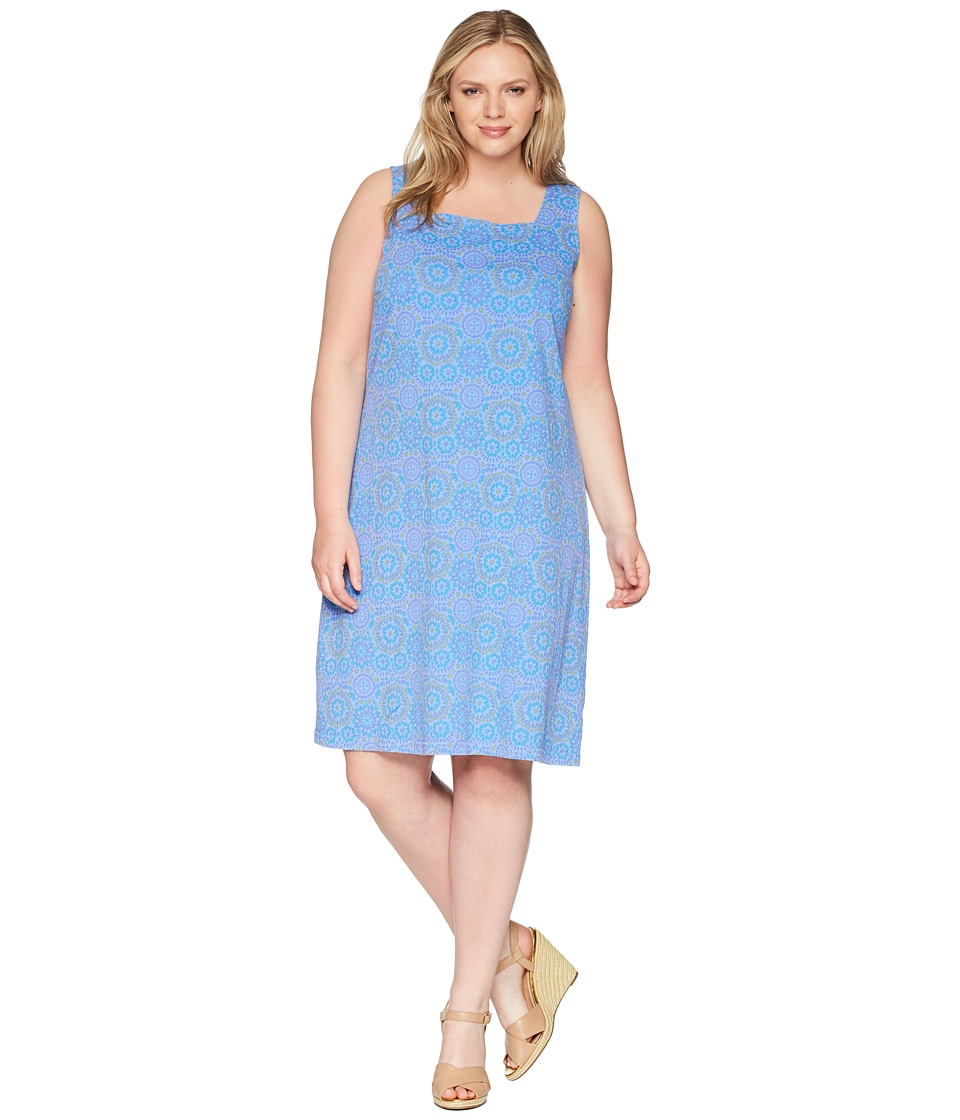 Extra Fresh by Fresh Produce - Plus Size Mosaic Shells Square Neck Dress (Peri Blue) Womens Dress