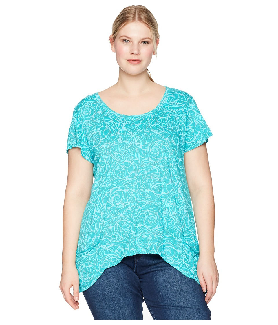 Extra Fresh by Fresh Produce - Plus Size Waves Twin Peaks Top (Caribbean Green) Womens Clothing
