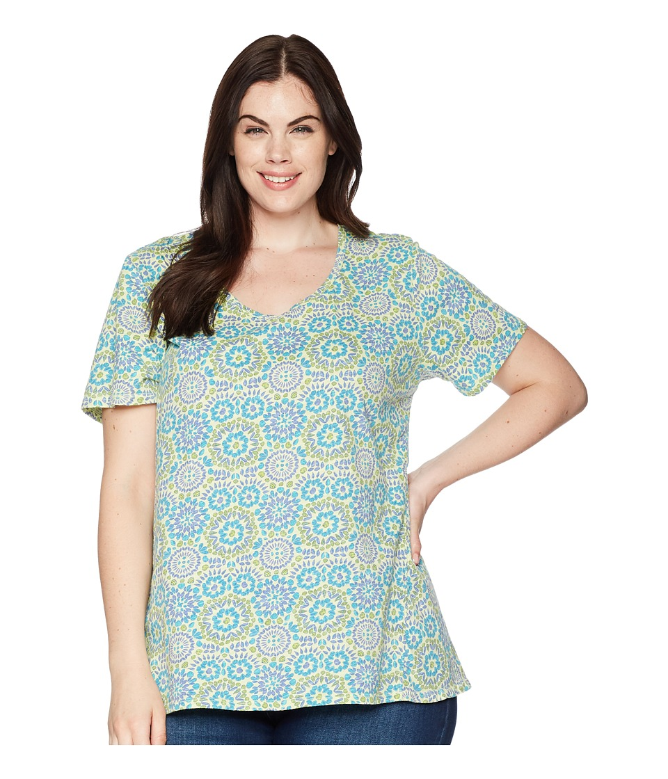 Extra Fresh by Fresh Produce - Plus Size Mosaic Shells Luna Top (Cucumber Green) Womens Clothing