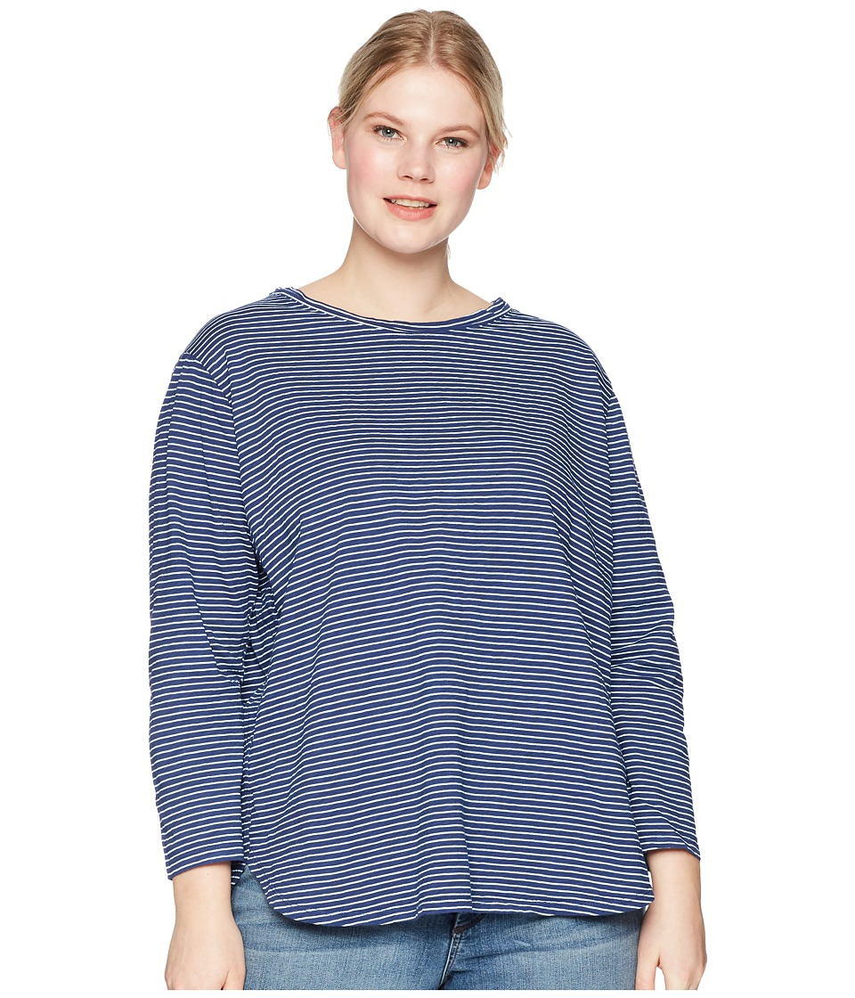 Extra Fresh by Fresh Produce - Plus Size Pinstripe Catalina Top (Moonlight Blue) Womens Clothing