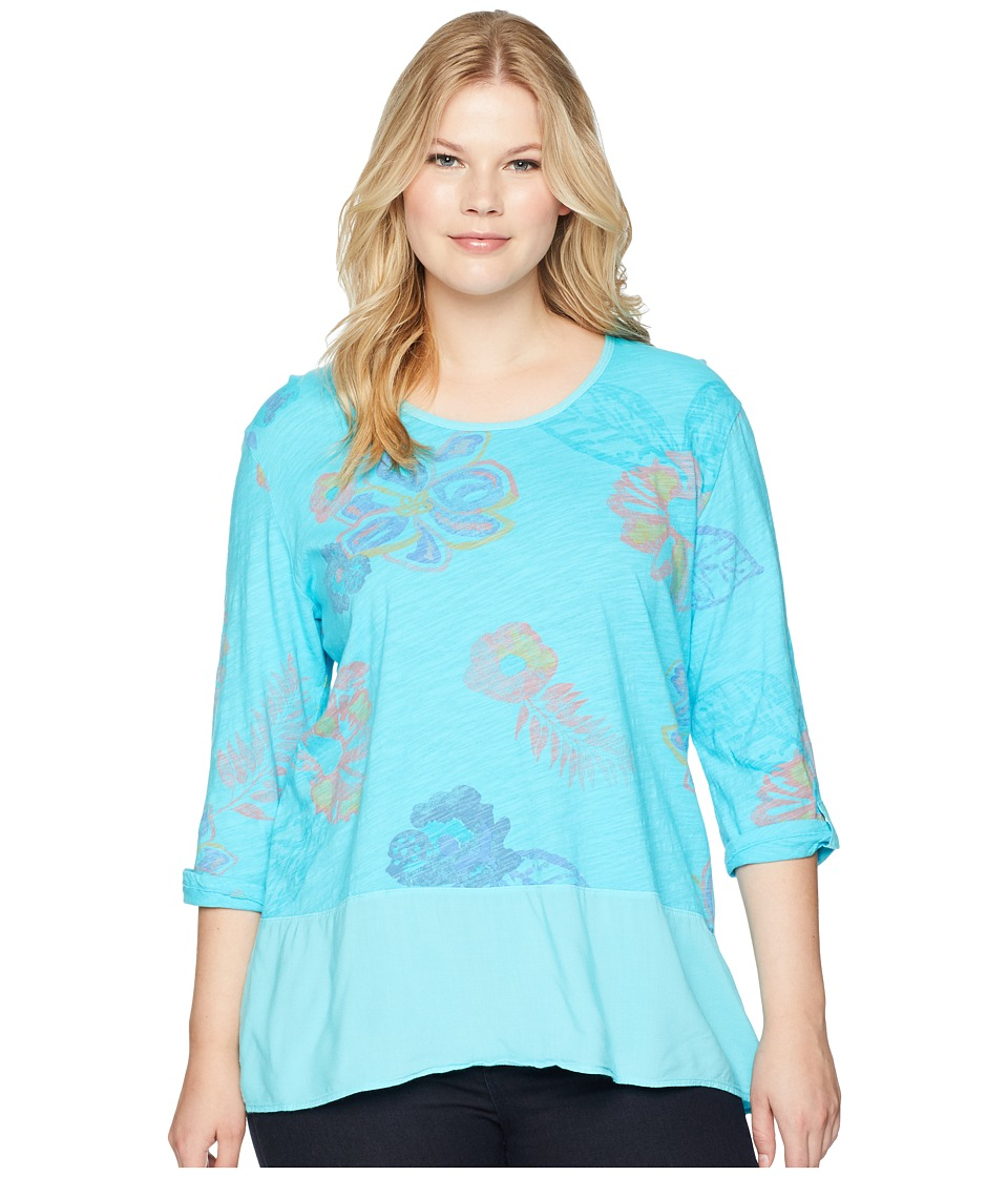 Extra Fresh by Fresh Produce - Plus Size Summer Floral Windfall Top (Luna Turquoise) Womens Clothing