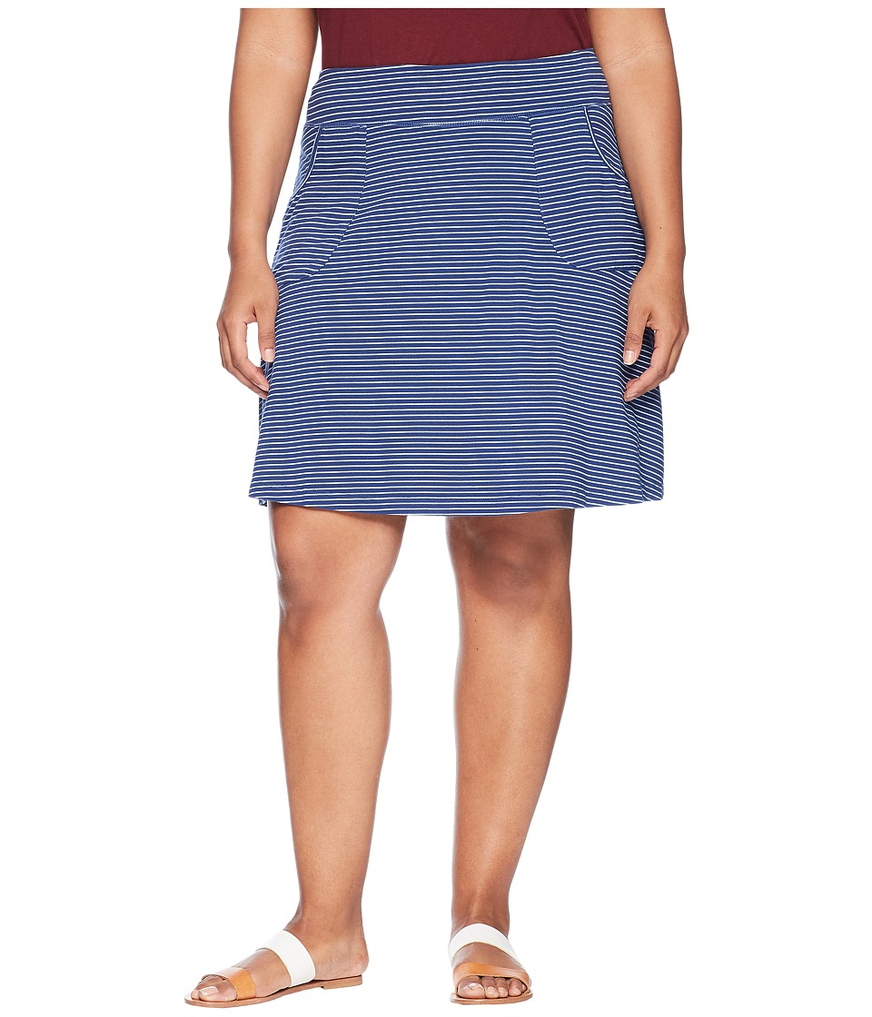 Extra Fresh by Fresh Produce - Plus Size Pinstripe City Skort (Moonlight Blue) Womens Skort
