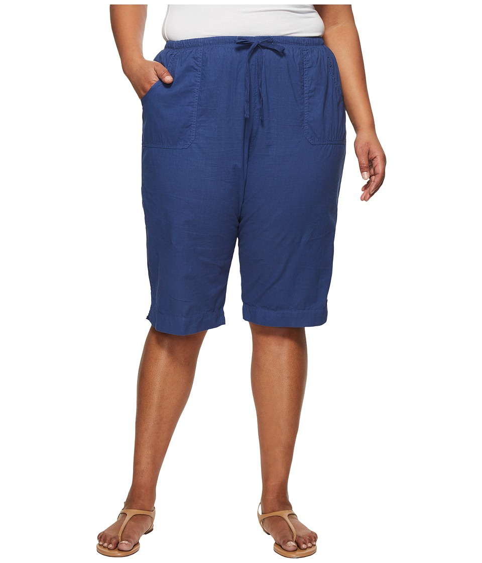 Extra Fresh by Fresh Produce - Plus Size Park Ave Pedal Pusher (Moonlight Blue) Womens Shorts