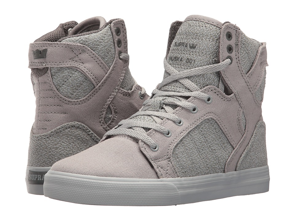 Supra Kids - Skytop (Little Kid/Big Kid) (Light Grey/Char...