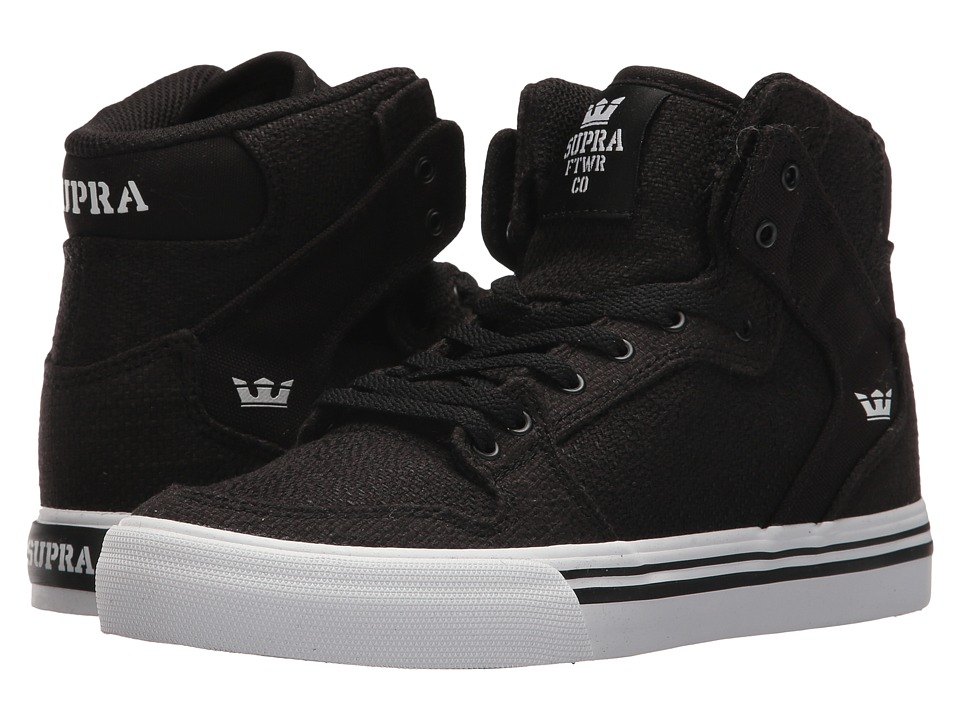 Supra Kids Vaider (Little Kid/Big Kid) (Black/Black/White) Boys Shoes