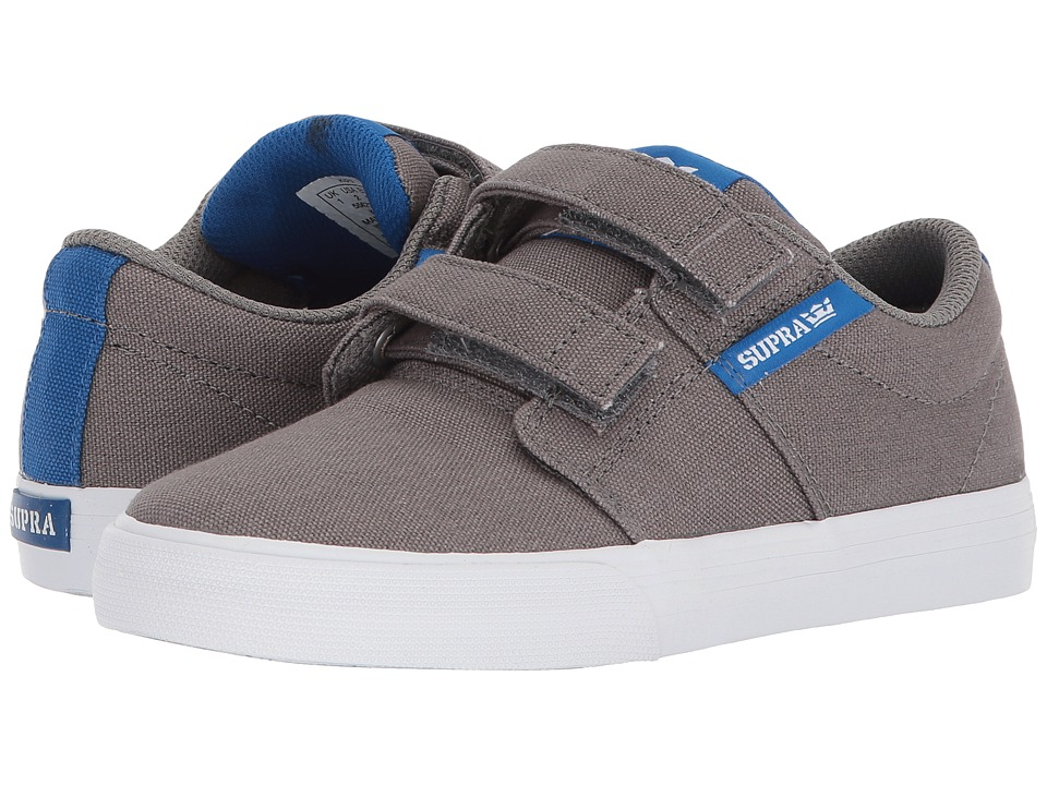 Supra Kids Stacks Vulc II Hook Loop (Little Kid/Big Kid) (Dark Grey/Ocean/White) Boy's Shoes