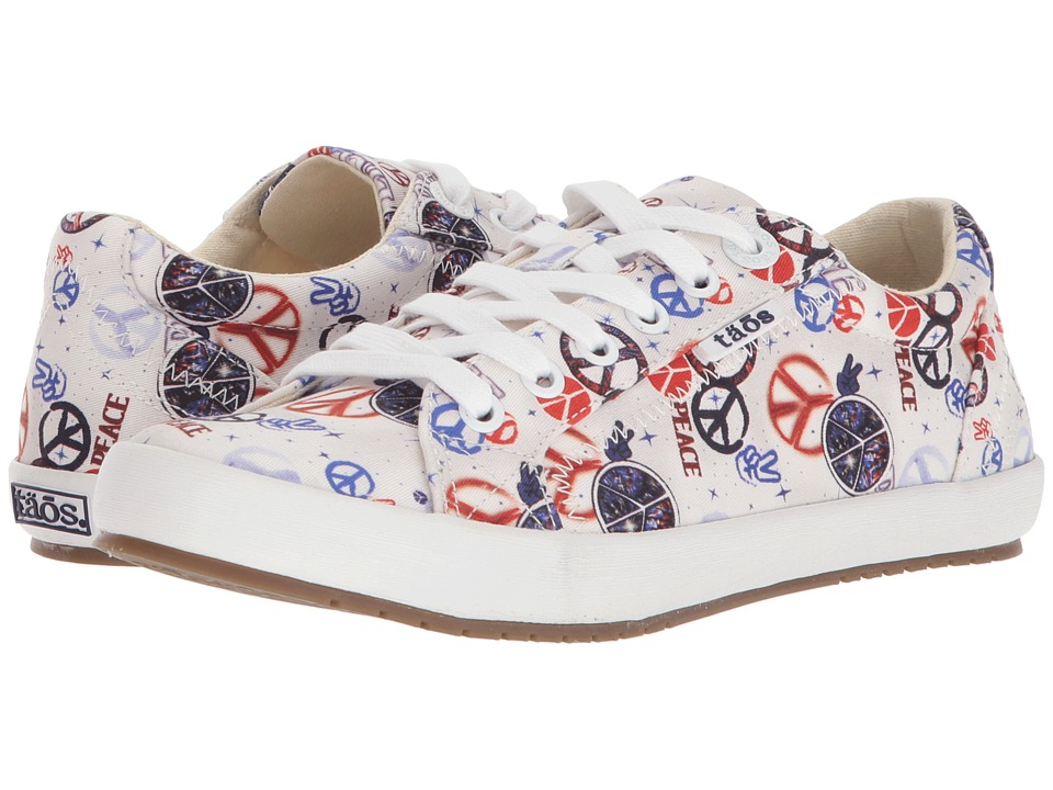 Taos Footwear - Star (Red/Blue Peace Print) Womens Lace up casual Shoes
