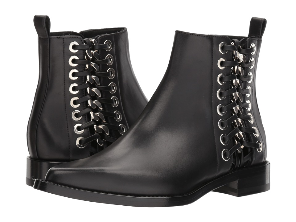 Alexander McQueen Braided Chain Ankle Boot (Black/Silver) Women