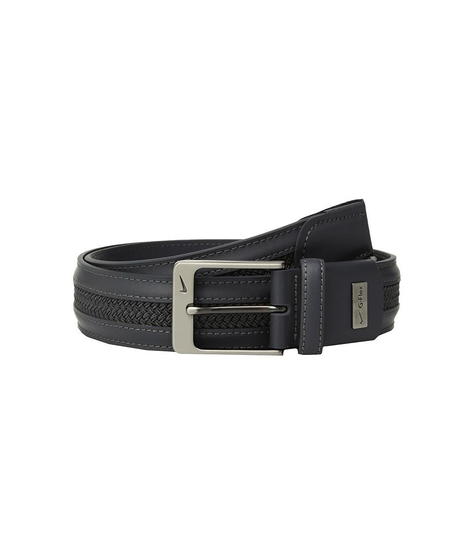 Nike - Leather/Woven G-Flex (Dark Grey) Mens Belts