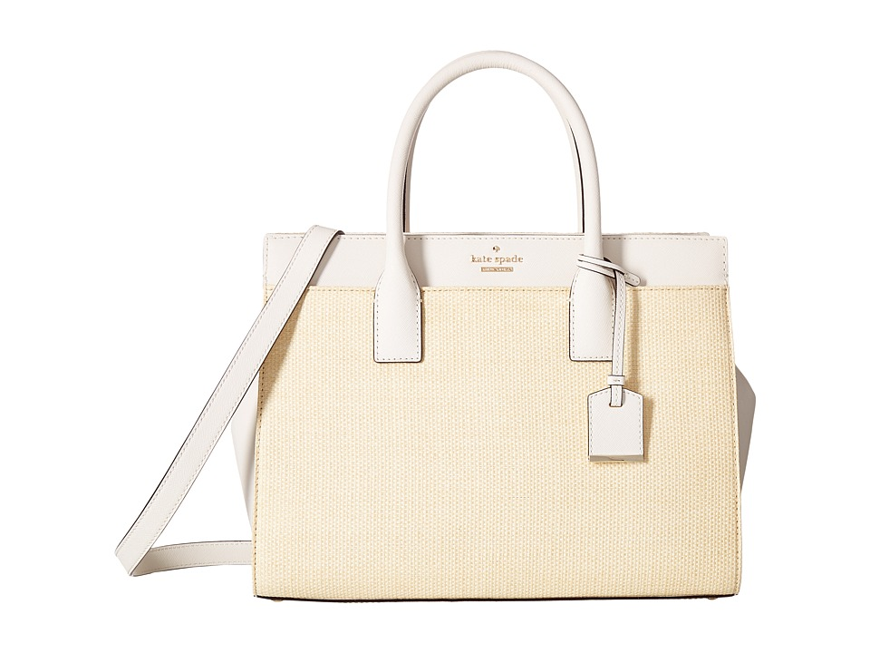 Kate Spade New York - Cameron Street Straw Candace Satchel (Natural/Cement) Handbags