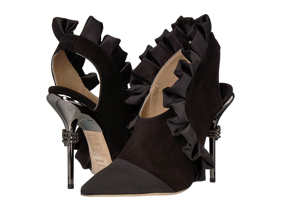 Racine Carree - Ruffle Trim Heel (Black Satin) High Heels