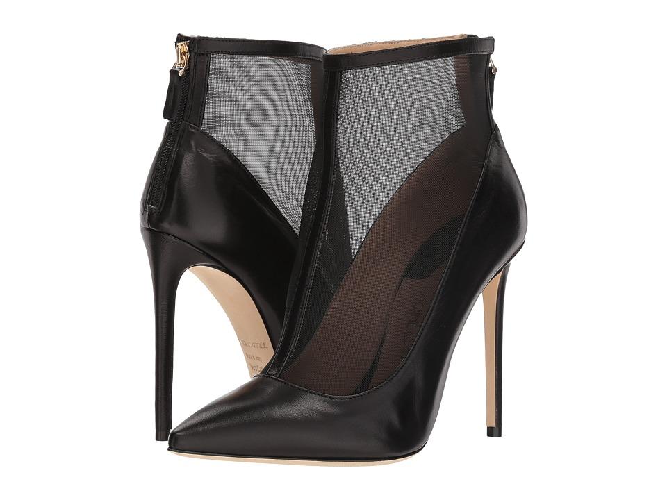 Racine Carree - Sheer Overlay Bootie Heel (Black Nappa) High Heels