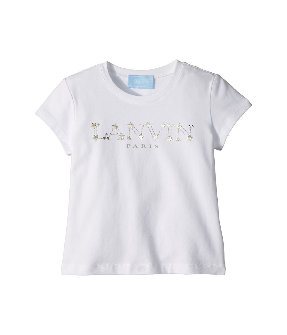 Lanvin Kids - Star Logo T-Shirt (Toddler/Little Kids) (White/Gold) Girls T Shirt