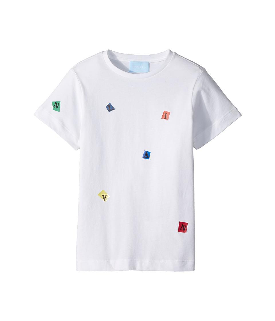 Lanvin Kids - Tossed Letters T-Shirt (Little Kids/Big Kids) (White) Boys T Shirt