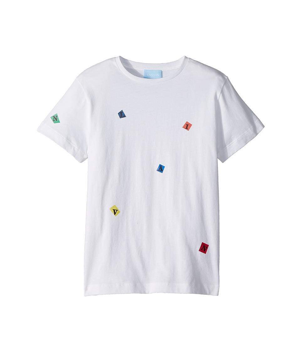 Lanvin Kids - Tossed Letters T-Shirt (Big Kids) (White) Boys T Shirt