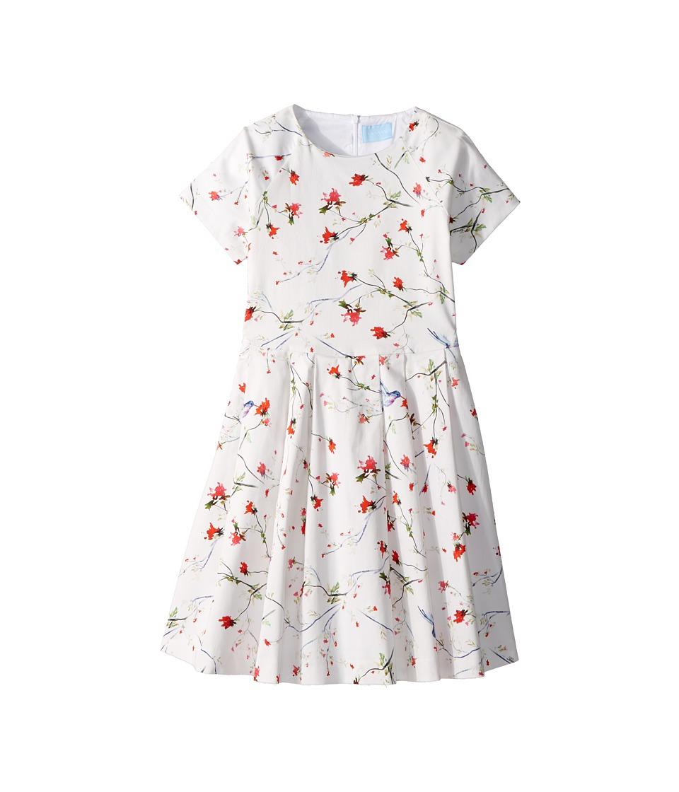 Lanvin Kids - Bloom Short Sleeve Dress (Big Kids) (White/Multi) Girls Dress