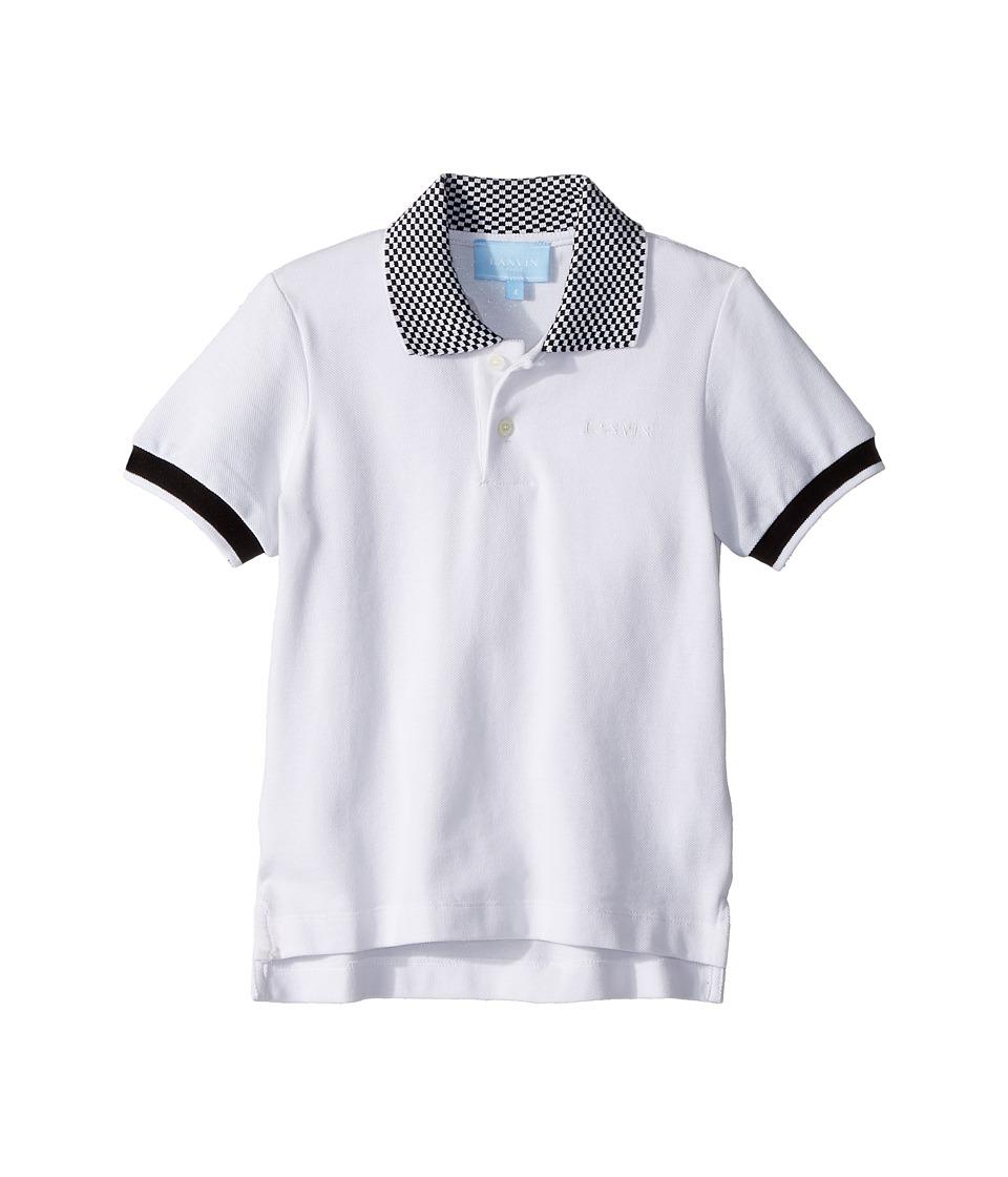 Lanvin Kids - Checkered Collar Polo (Toddler/Little Kids) (White) Boys Clothing