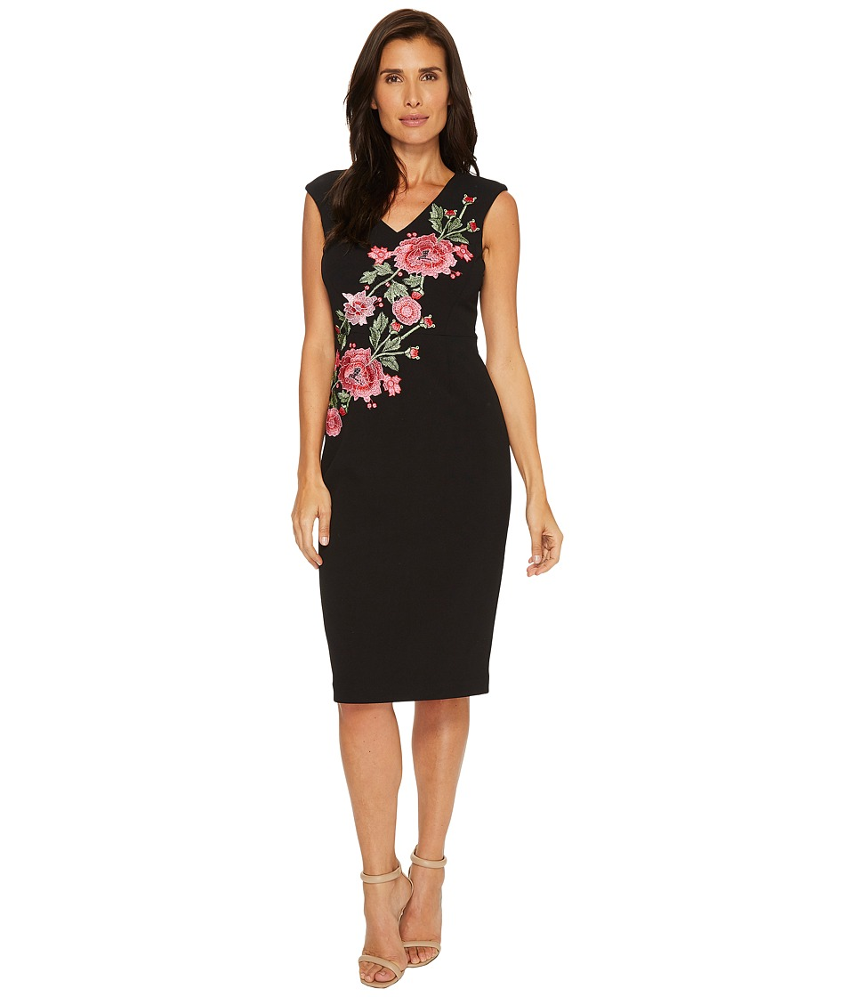 Ivanka Trump Compression Dress with Embroidered Flowers (Black/Red) Women