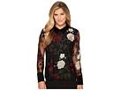 Ivanka Trump Embroidered Floral Velvet Collar Shirt