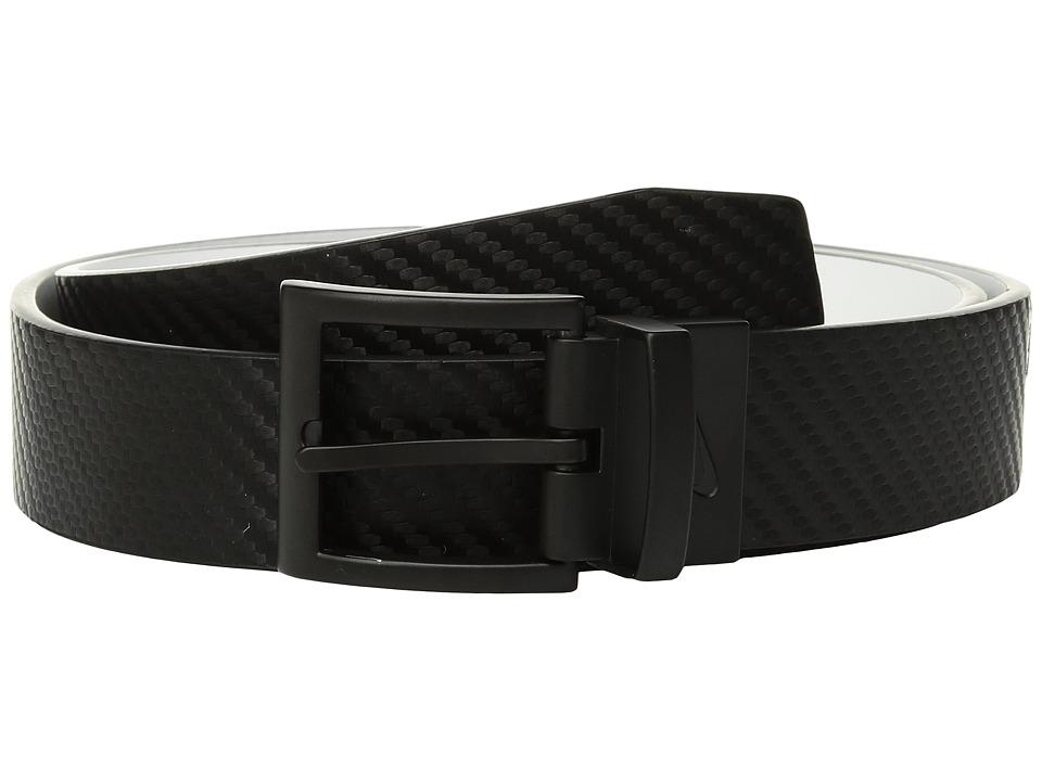 Nike - Carbon Fiber Texture Reversible (Big Kids) (Black/White) Mens Belts