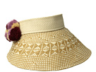 San Diego Hat Company San Diego Hat Company PBV012OS Visor w/ a Patterned Brim and Multi Colored Pom Poms
