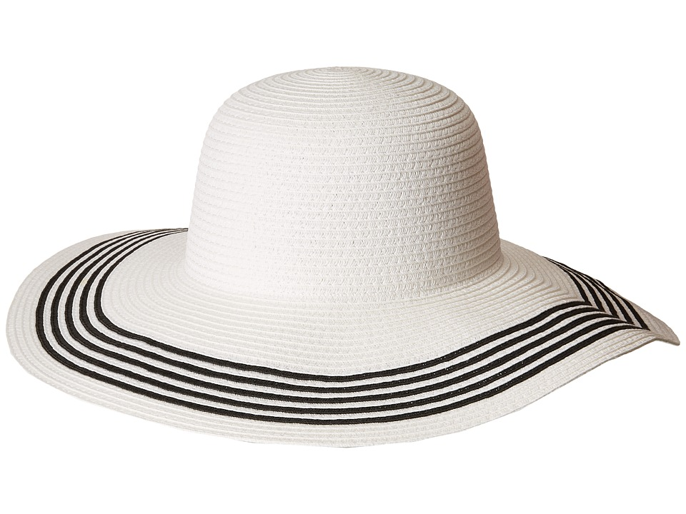 Women's Vintage Hats | Old Fashioned Hats | Retro Hats San Diego Hat Company - PBL3088OS Paperbraid Floppy w Contrast Stripes on Brim WhiteBlack Caps $24.75 AT vintagedancer.com