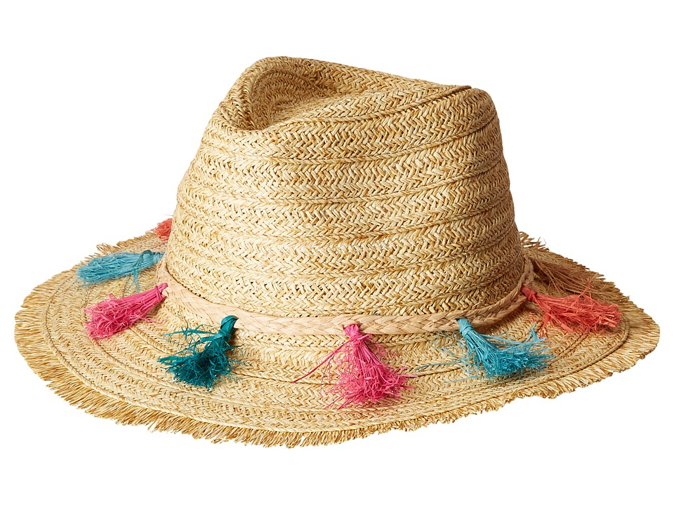 San Diego Hat Company - UBF1104OS Fedora w/ Multi Color Tassels (Natural) Caps