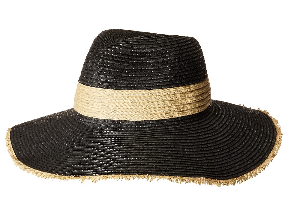 San Diego Hat Company - PBF7310O Fedora w/ Natural Inset And Frayed Edge (Black) Caps