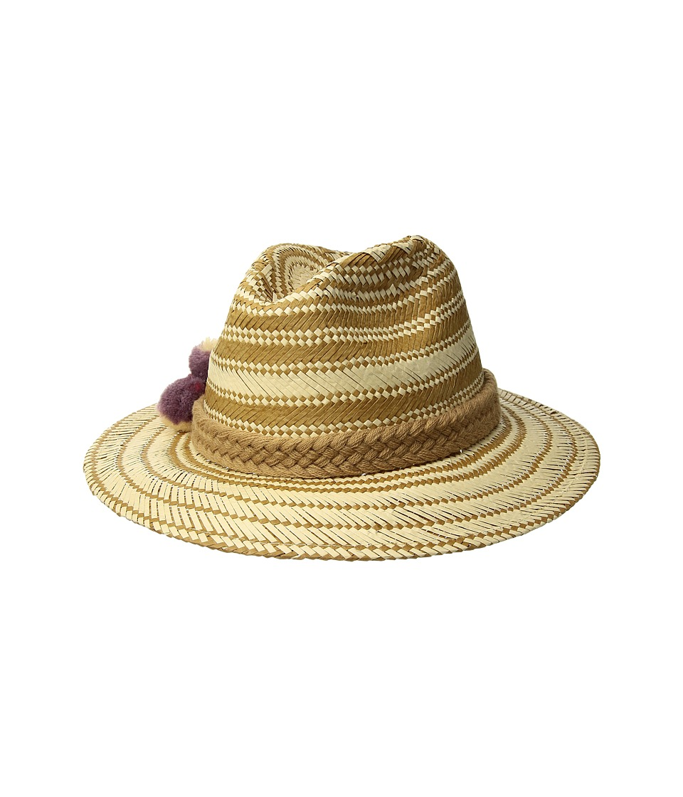 San Diego Hat Company - PBF7320OS Fedora w/ Paper Pattern and Triple Poms (Natural) Caps