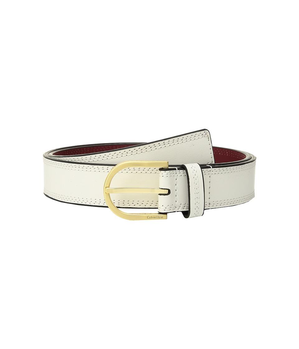 Calvin Klein Stitched Flat Strap Belt w/ Eyelets (Angora) Women