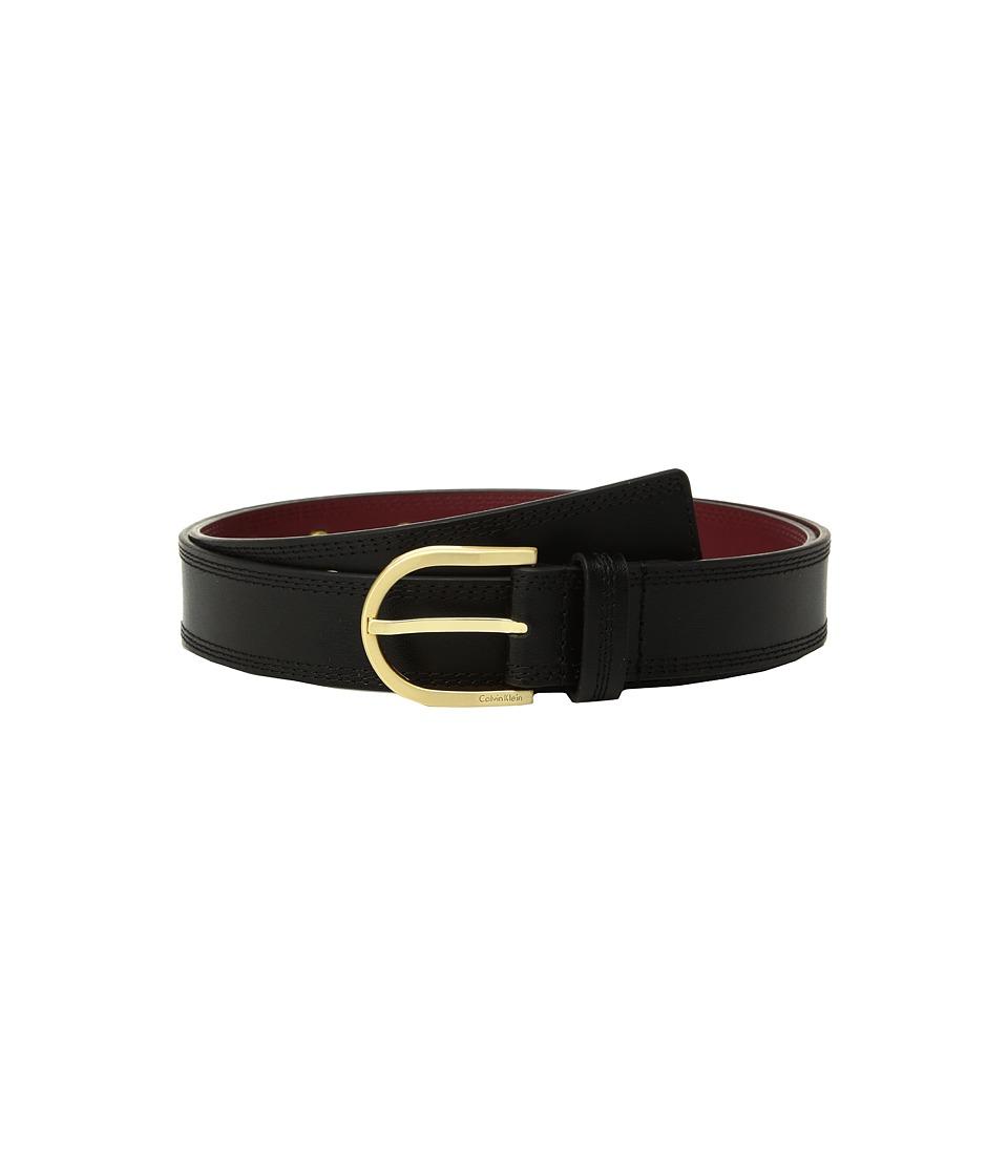 Calvin Klein Stitched Flat Strap Belt w/ Eyelets (Black) Women