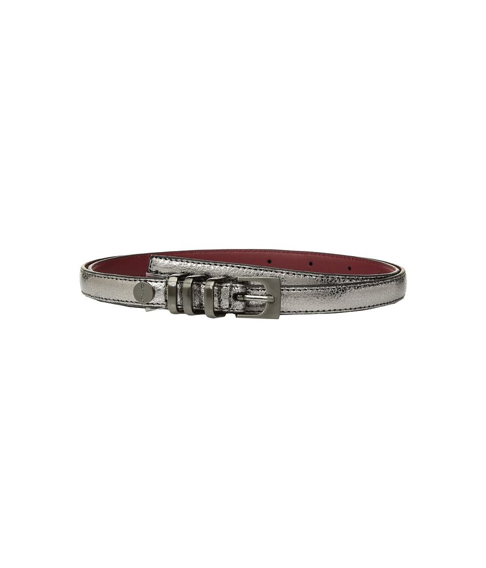 Calvin Klein Skinny Belt w/ Metal Loops (Pewter) Women