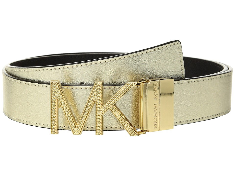 MICHAEL Michael Kors Reversible Chain Logo Hardware Belt (Gold/Black) Women