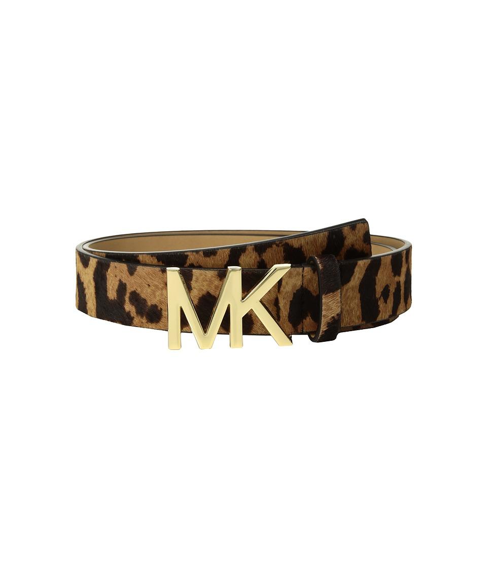 MICHAEL Michael Kors Leopard Haircalf Logo Belt (Leopard Haircalf) Women